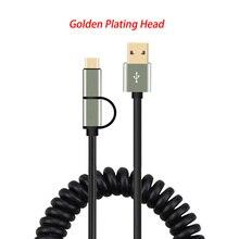 Cable 2 en 1 Micro USB tipo C 2A cargador rápido Cable de datos Cable extensible para iOS iPhone xiaomi redmi Samsung teléfono 60cm 120cm Cable