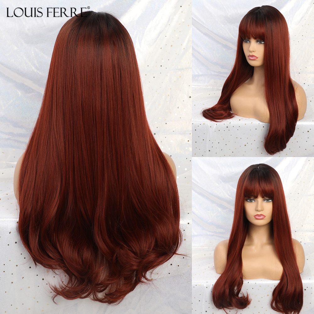 LOUIS FERR Long Wavy Synthetic Wigs Ombre Black Wine Red Wigs with Bangs for Black Women African American Heat Resistant Hair