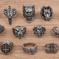 vintage punk animal cross centaur anubis claw rings for men open end adjustable size hip hop fashion jewelry gifts for men boys