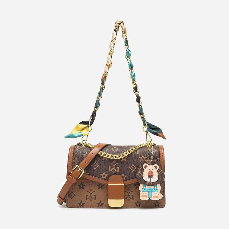 الكلاسيكية الطباعة حقيبة كروسبودي للنساء حقيبة يد فاخرة المرأة حقيبة انقسام الجلود المحافظ وحقائب اليد كيس دي لوكس فام ماركي