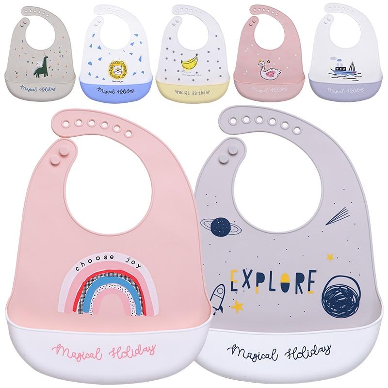 Дизайнерские Слюнявчики для новорожденных, модные мягкие Силиконовые Слюнявчики для кормления, водонепроницаемые Мультяшные Слюнявчики д...