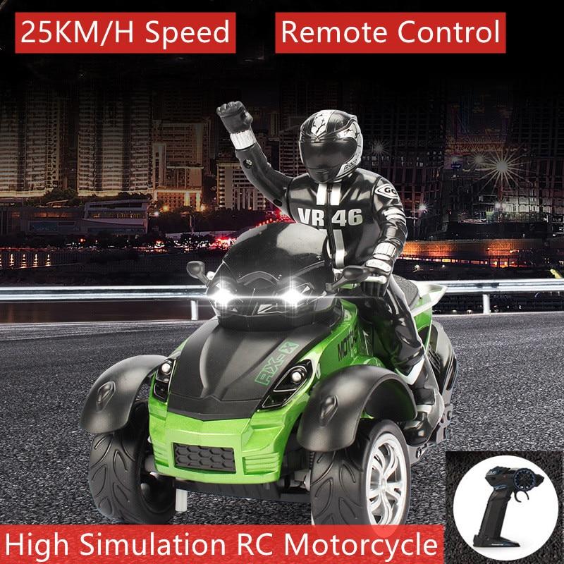 25km/ساعة عالية السرعة التحكم عن بعد RC حيلة دراجة نارية 80M مسافة الانجراف سباق دراجة نارية RC دراجة نارية مع فلاش Led ضوء الهدايا