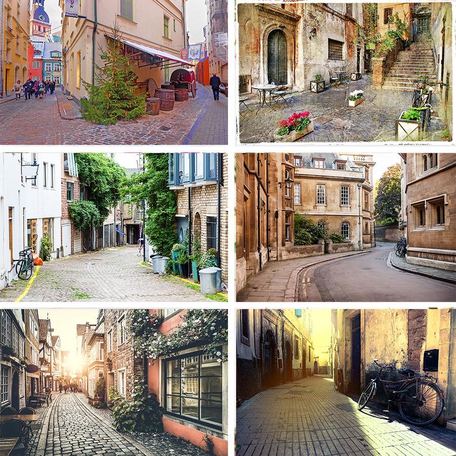 Fondo de estudio de fotografía de ciudad pequeña hermosa de vinilo de Nitree paisaje con edificio de calle fotografía tomar imágenes de fondo