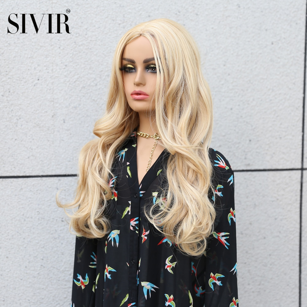 AliExpress - Sivir Synthetic Wigs Long Wavy Womens Wig Natural  Middle Parting Hair Blonde orange  6 color Wigs Heat Resistant wigs for Women