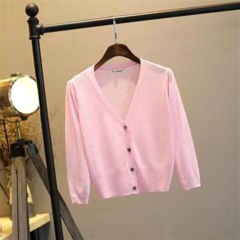 Women Knit Cardigan Silk Air Conditioner Sun Protection Shirt 2020 Fashion Design Casual Summer Spring Autumn Cardigan 3/4 sleev
