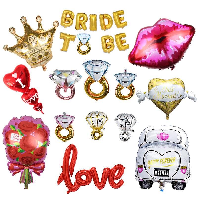 1 Uds. Corona de anillo de diamante, globos de aluminio con letras de amor, decoración romántica de compromiso, boda, Día de San Valentín, globo con forma de corazón