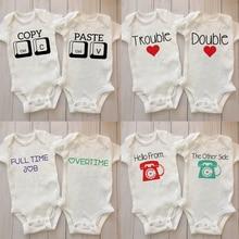 Twin Pregnancy Announcement Jumpsuit Gender Neutral Baby Bodysuit Twin Baby Shower Gift Twins Newbor