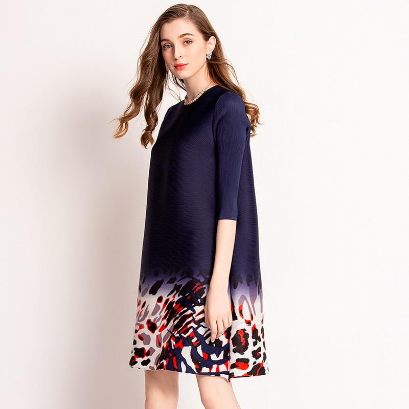 Leopard Print Skirt At Hem Pleated Dress Fashionable And Popular Horizontal Pleated Women's Wear