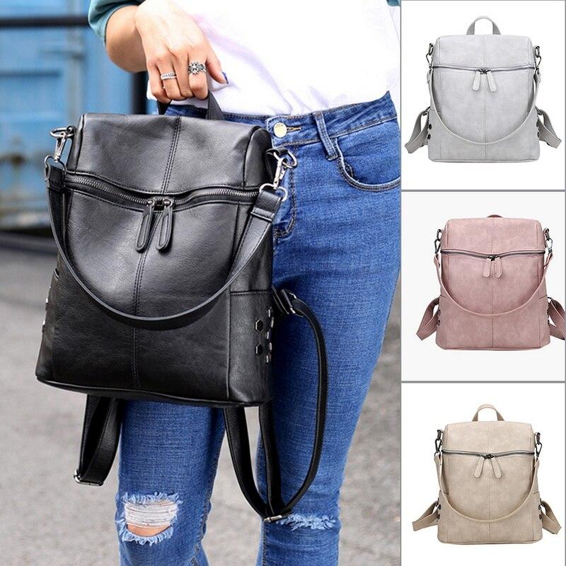 2020 PU Leather Backpack Women Waterproof Ladies Zipper Female Casual Shoulder Bag Teenager School