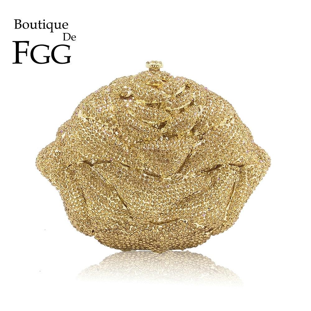 Boutique De FGG-حقيبة يد مزينة بالزهور الكريستالية ، للنساء ، لامعة ، ذهبية ، للحفلات ، الزفاف ، الزفاف