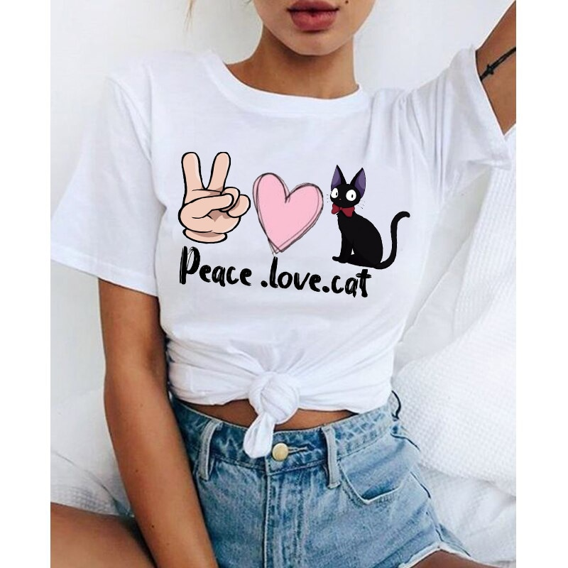 Creative Peace Love Cat T-Shirt Female Funny Peace Graphic T Shirt Harajuku Women Girls Tshirts Unis