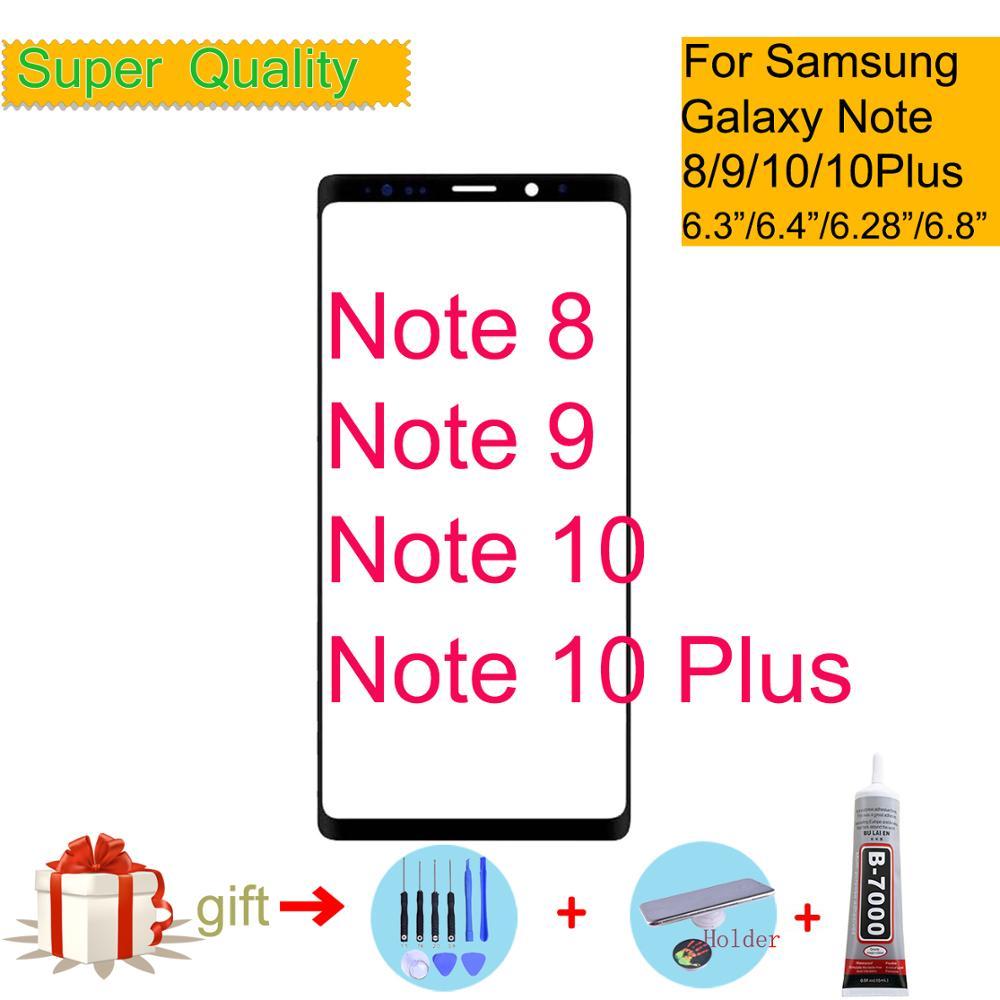 Note 8 Note 9 cubierta de lente de cristal exterior frontal para Samsung Galaxy Note 10 Plus recambio de panel de pantalla táctil de cristal LCD