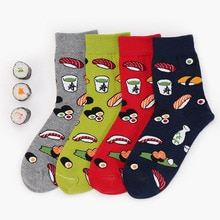 ญี่ปุ่นHarajukuซูชิออกแบบตลกถุงเท้าการ์ตูนถุงเท้าลูกเรือผู้หญิงNovelty Calcetines Divertidos Mujer 4สีSokken