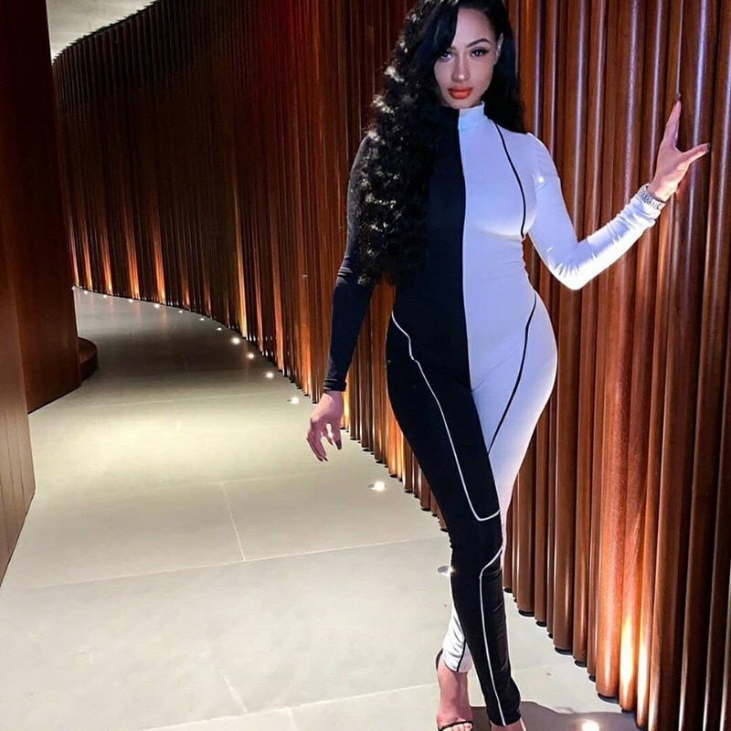 JRRY Casual Striped Women Jumpsuit Long Sleeve Turtleneck Jumpsuit Summer New Black White Stripes Bodysuit