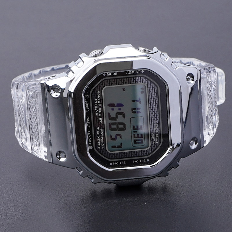 for GMW-B5000 GMWB5000 Casioak Mod Ice Transparent Silicone Watchband Metal Bezel Rubber Anti-fall Strap Wrist Strap with Tools enlarge