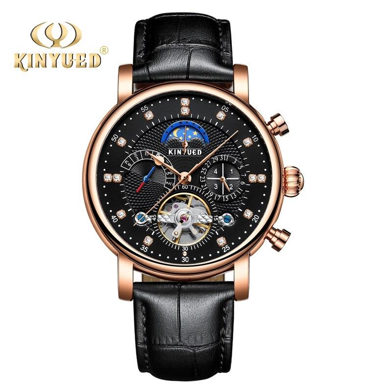 Marca KINYUED automático reloj Tourbillon Relojes mecánicos de la fase de Luna reloj, calendario perpetuo Hombre Relojes para Hombre