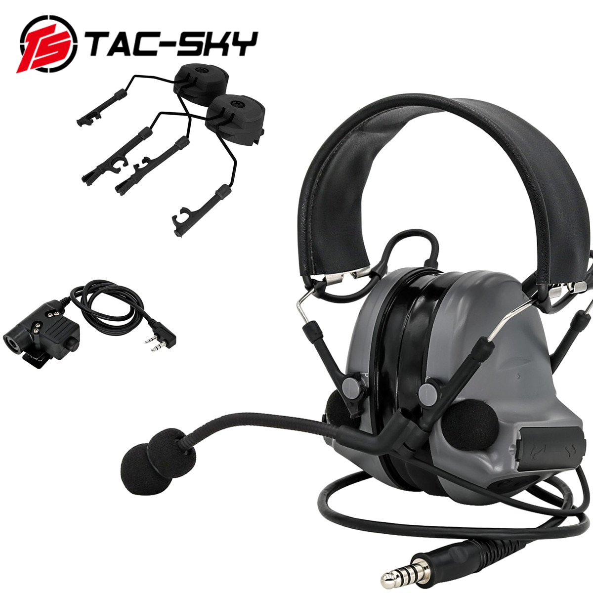 TAC-SKY tactical noise reduction shooting headset COMTAC II headset + tactical PTT U94 PTT+ARC helmet track comtac bracket  GRAY