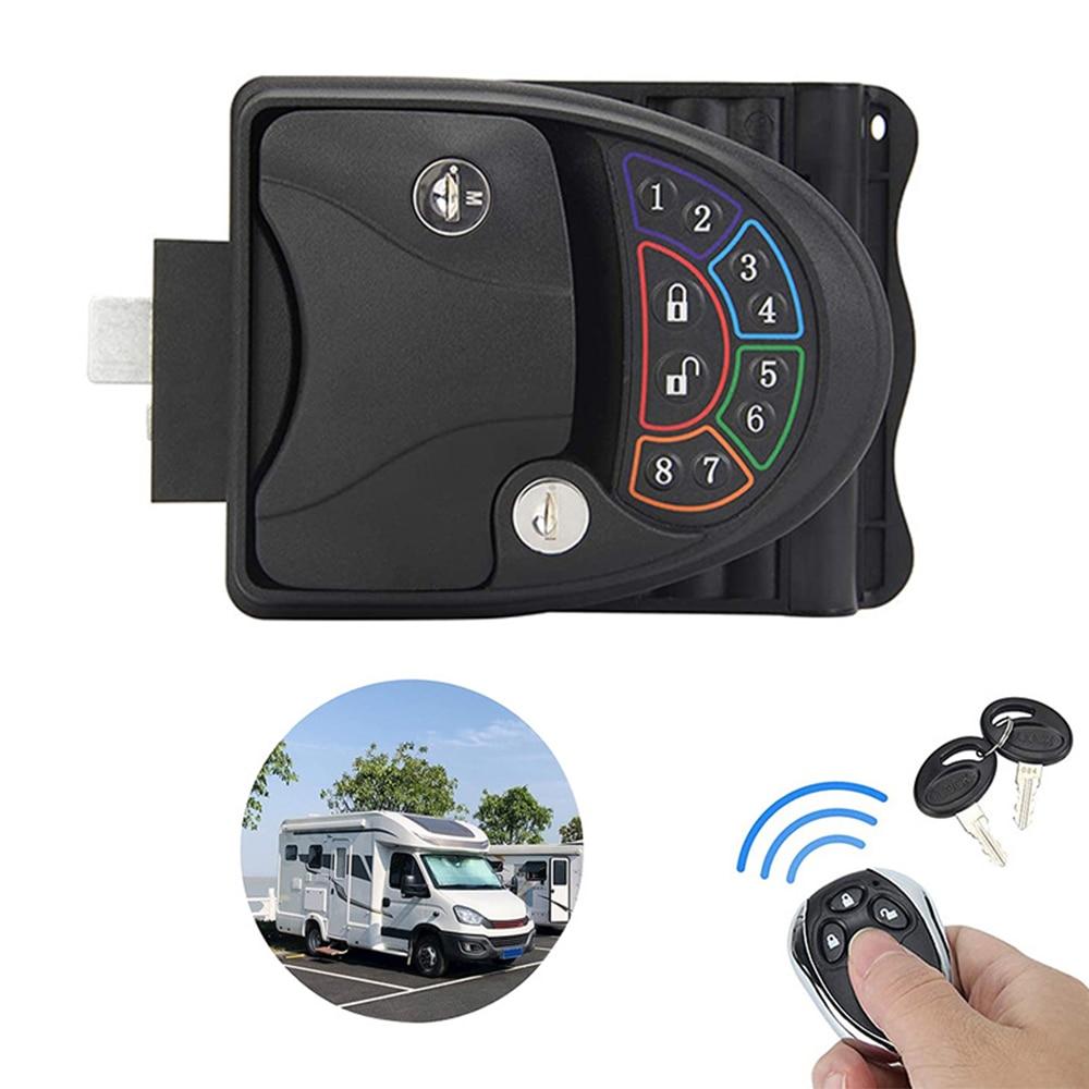1 Set RV Keyless Entry Door Lock Metal Travel Trailer Handle Knob Deadbolt With Remote Controller, Keys, Installation Hardware enlarge