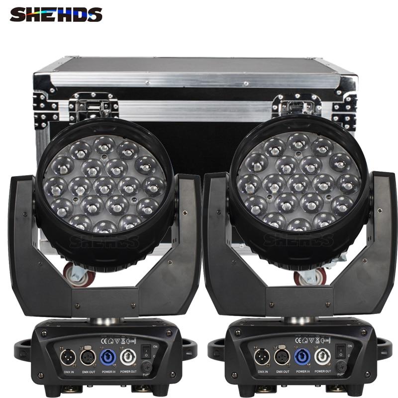 2pc19x15W النحل العين RGBW LED غسل + التكبير شعاع يتحرك رئيس الإضاءة مع Flightcase ل DJ ديسكو KTV بار ملهى ليلي المرحلة ضوء