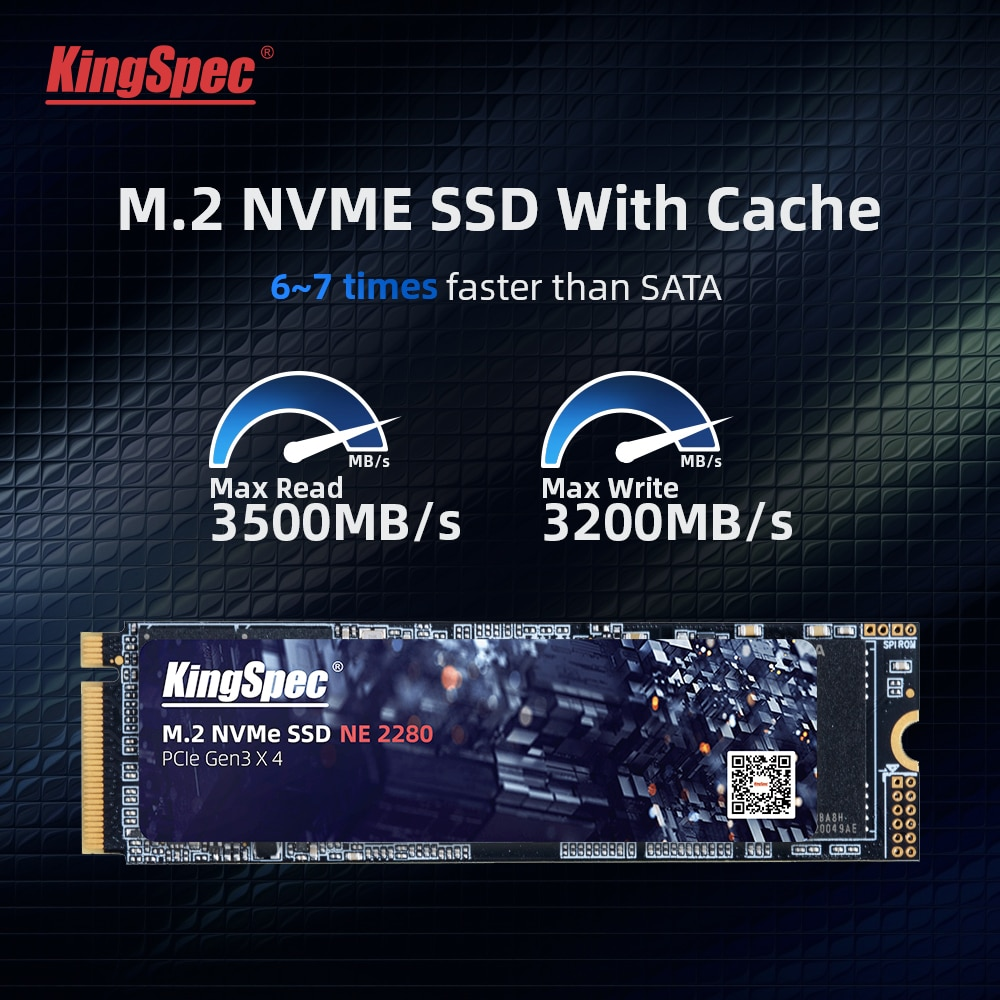 Kingspec 512GB M.2 SSD with Dram M2 PCIe NVME 1TB 2TB Solid State Drive 2280 Internal Hard Disk for Laptop with Cache High Speed