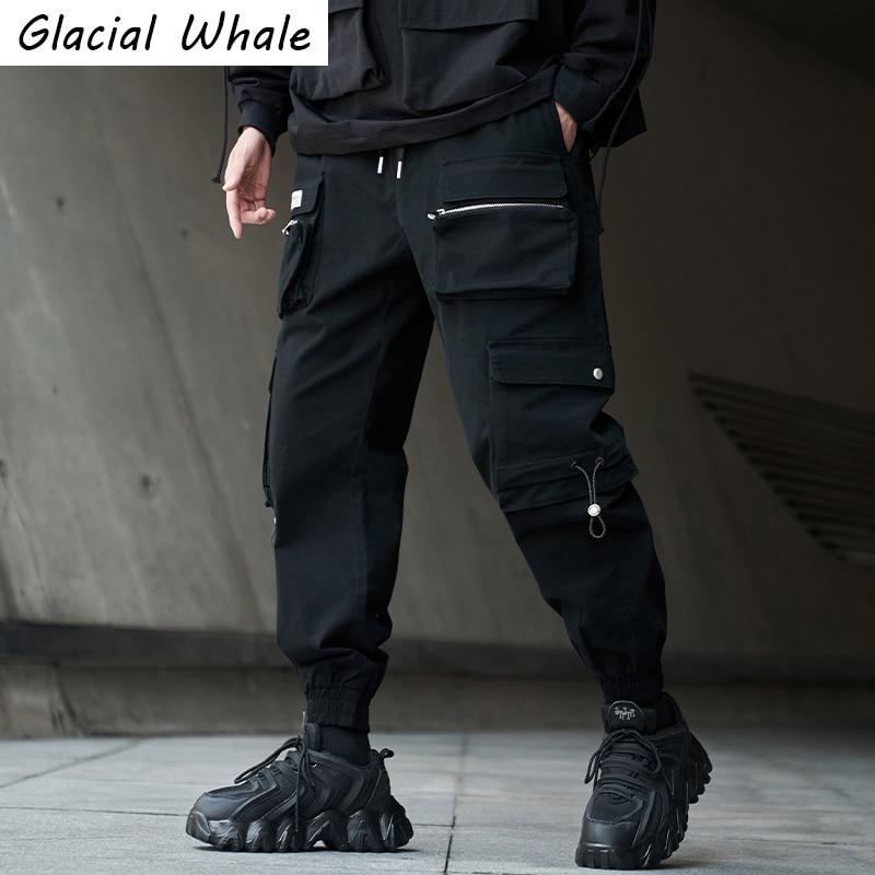 Glacialالحوت الرجال السراويل البضائع موضة ركض فضفاض الذكور الهيب هوب Techwear اليابانية الشارع الشهير السراويل السوداء سراويل للجري الرجال