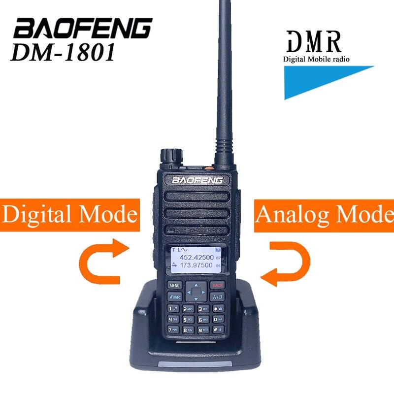2021 Baofeng DMR DM-1801 لاسلكي تخاطب VHF UHF 136-174 و 400-470MHz المزدوج التردد المزدوج فتحة راديو رقمي DM1801 لحم الخنزير البث