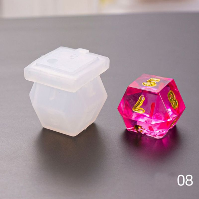 N58F DIY Crystal Epoxy Mold Dice Fillet Shape Multi-spec Digital Game High Mirror dice mold silicone Mould Making