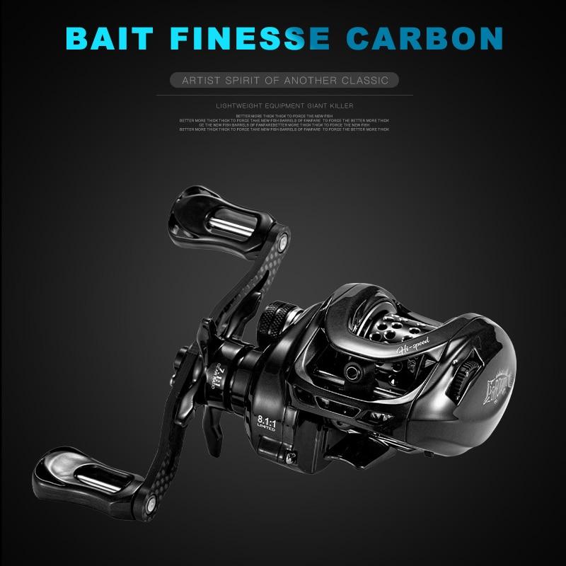 BMC100 BFS Baitcasting Fishing Reel Ultrlight 150g Bait Finesse Carbon Handle 8.1:1Gear Ratio Magnetic Brake System Fishing Coil enlarge