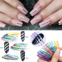 618pcs 3d nail stickers nail foil neon curve manicure nail decoration laser striping lines tape