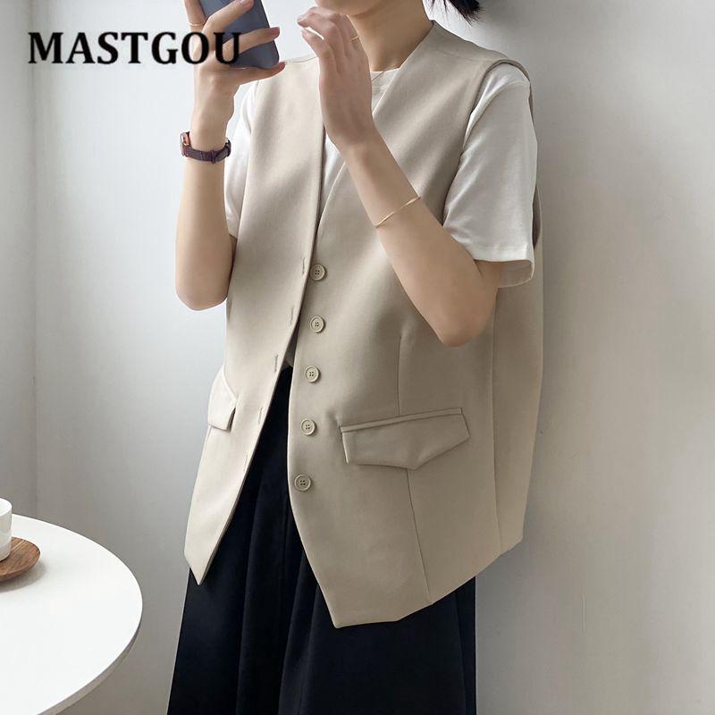 MASTGOU المرأة جاكيت بلا إكمام معطف طويل سترة السترة العمل الرسمي السيدات مكتب خمر سليم البدلة صدرية الإناث حجم كبير