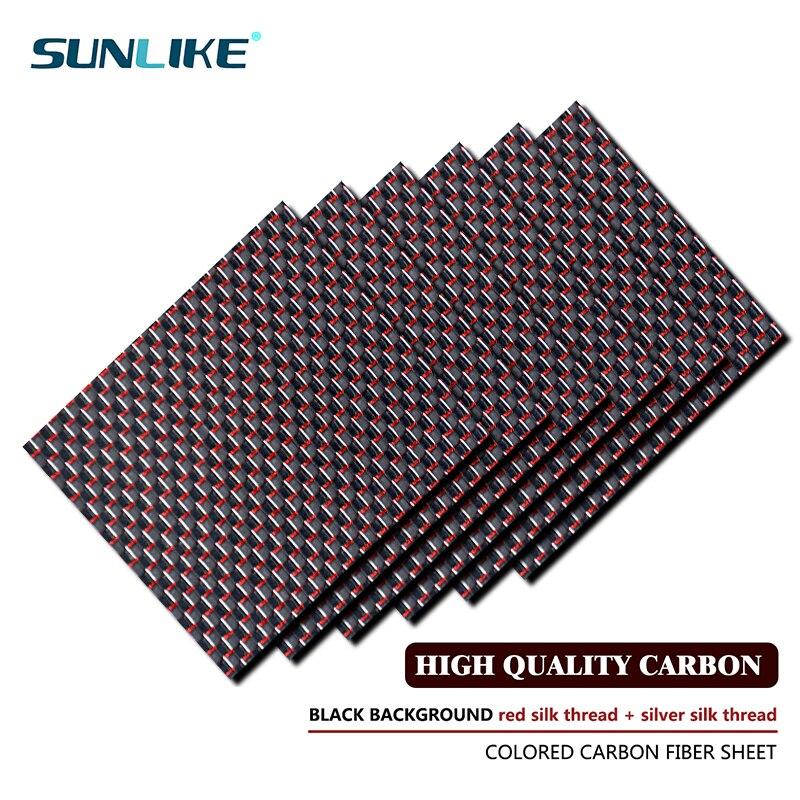 195x240mm 3k lámina de fibra de carbono coloreada red y sivler hilo tejido superficie mate brillante Placa de panel de fibra de carbono