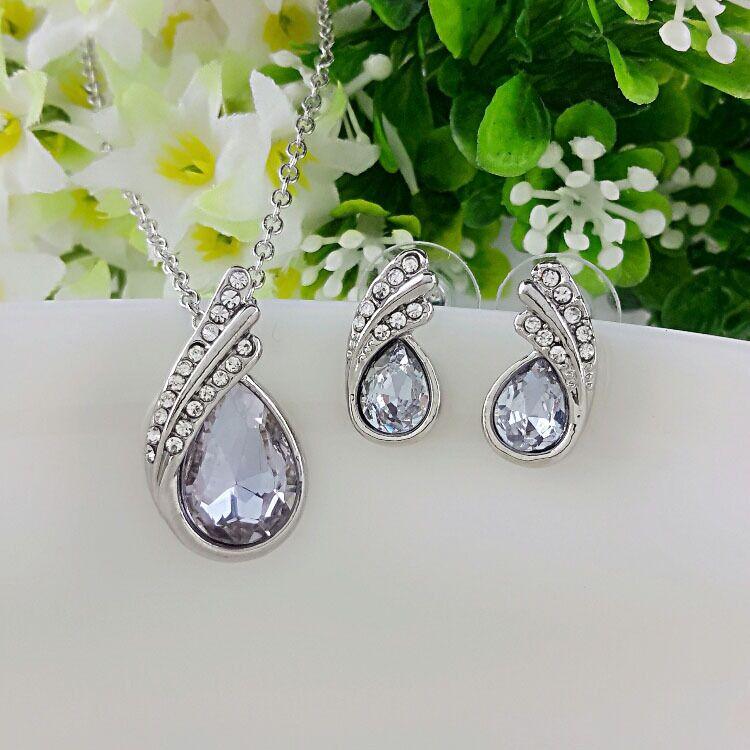 Joyería fina plata de ley 925 adecuada para damas boda luz púrpura cristal conjunto collar pendientes conjunto yw023
