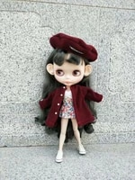 blythes doll dress 16 size fashion burgundy woolen coat white breast wrap floral waist skirt burgundy woolen beret suit