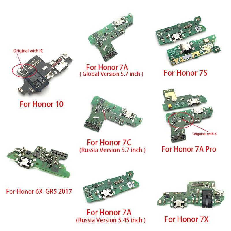 Puerto de carga USB, Cable flexible para Huawei Honor 10 7X 7S 6X GR5 2017 7A Pro Global Russia