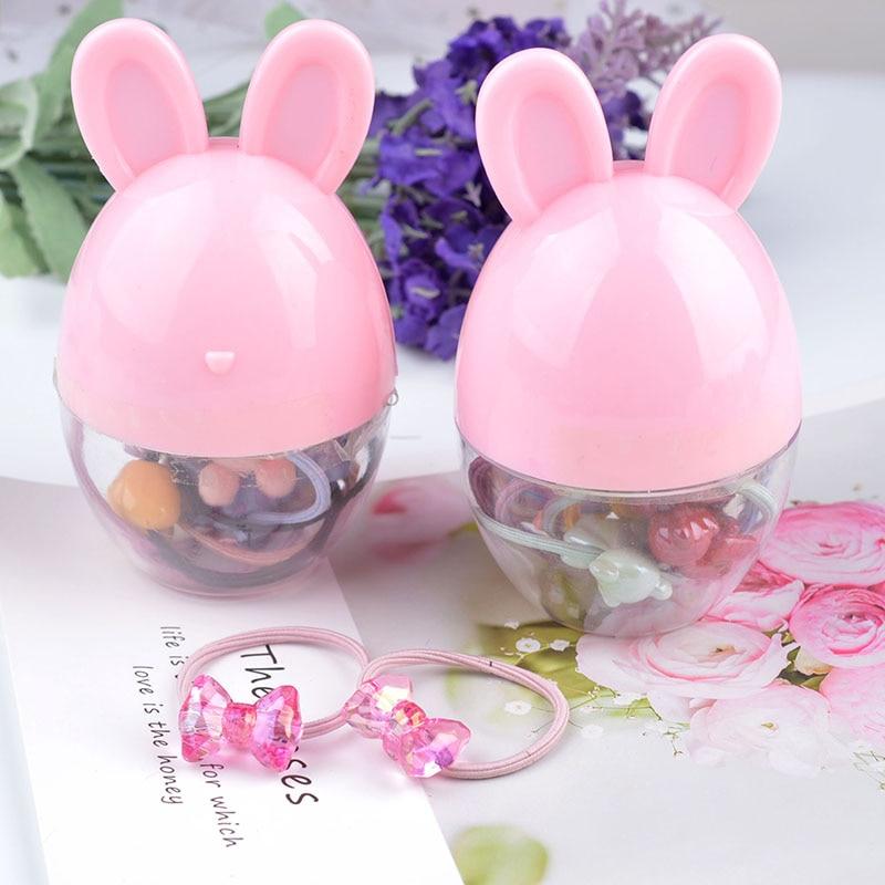 10 peças/caixa coreano crianças arco acessórios para o cabelo moda colorido coelho borracha banda corda de cabelo para a menina caixa princesa presente