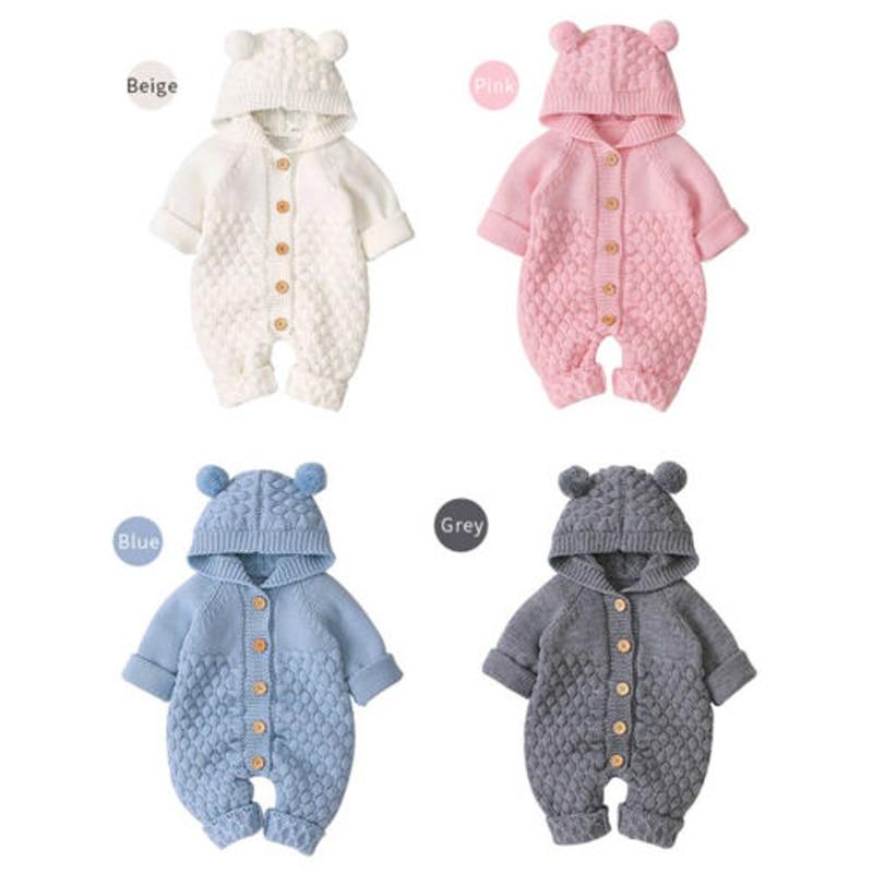 0-24M Newborn Baby Knitted Sweater Jumpsuits Autumn Winter Soft Warm Romper Boys Girls Hooded Bear E