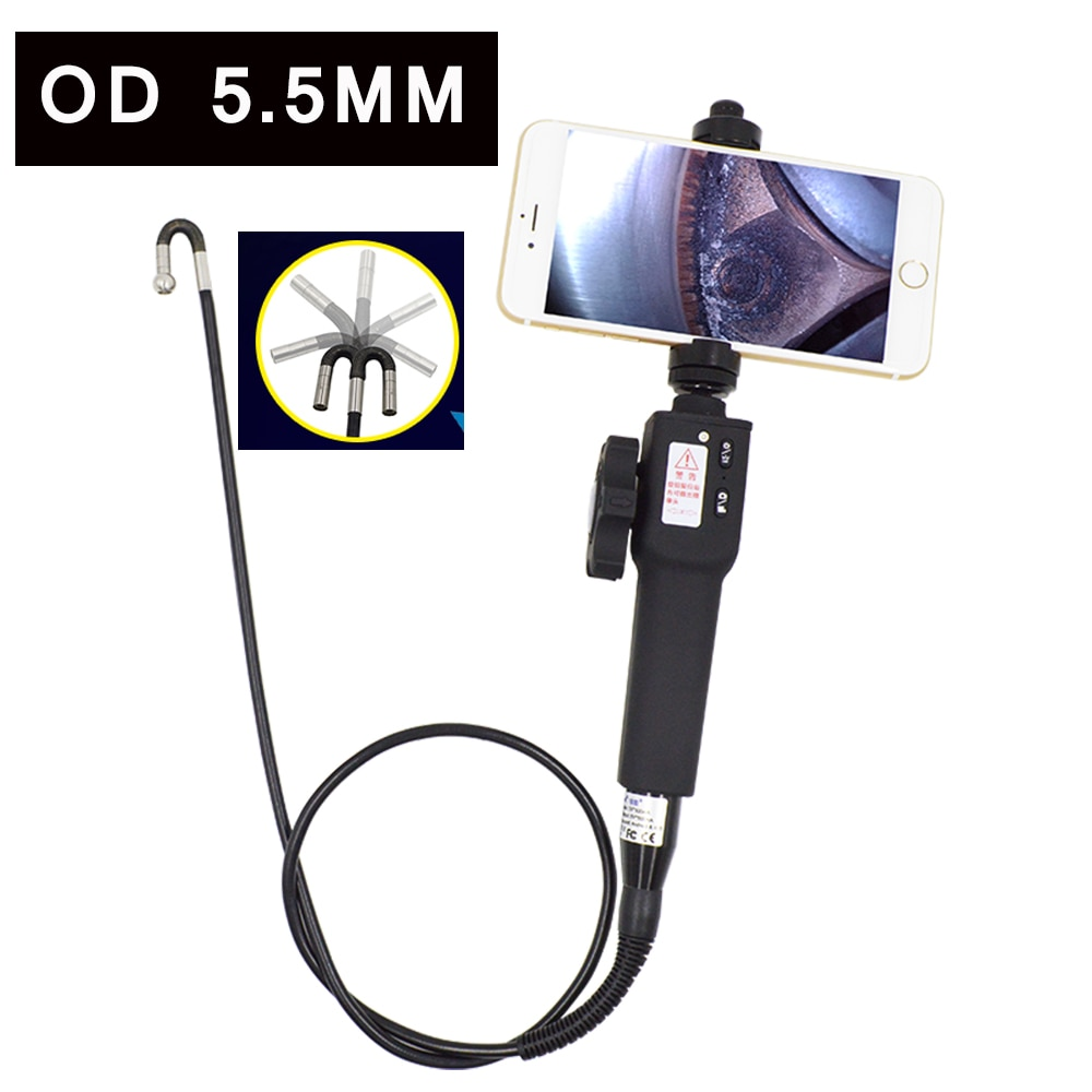 Promo 2 way Articulation Rotation Endoscope Scope Camera 5.5mm Industrial Video Borescope Inspection Camera for Android Smartphone ios