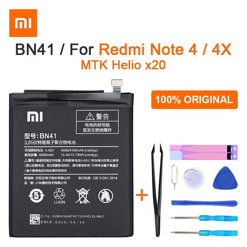 Оригинальный аккумулятор Xiaomi Redmi Note 4 BN41 4100 мАч для Hongmi Note 4 / Redmi Note 4X MTK Helio X20, Высококачественная батарея BN41