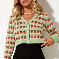 casual fruit printed green cardigan women girlish button long sleeve crop cardigan winter youth series ladies short top