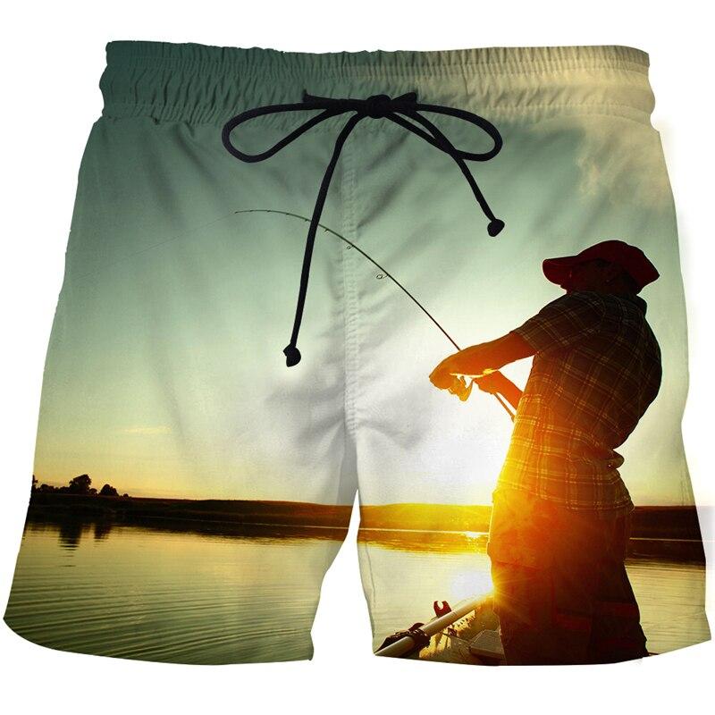 Лето 2021, мужские пляжные шорты с 3D принтом, шорты серии рыбалка, забавные модные спортивные мужские повседневные пляжные шорты