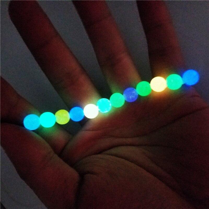 200 pçs 6-12mm contas luminosas para fazer jóias fulgor no escuro acrílico contas pulseira frisado colar diy mulher homem buraco 2mm