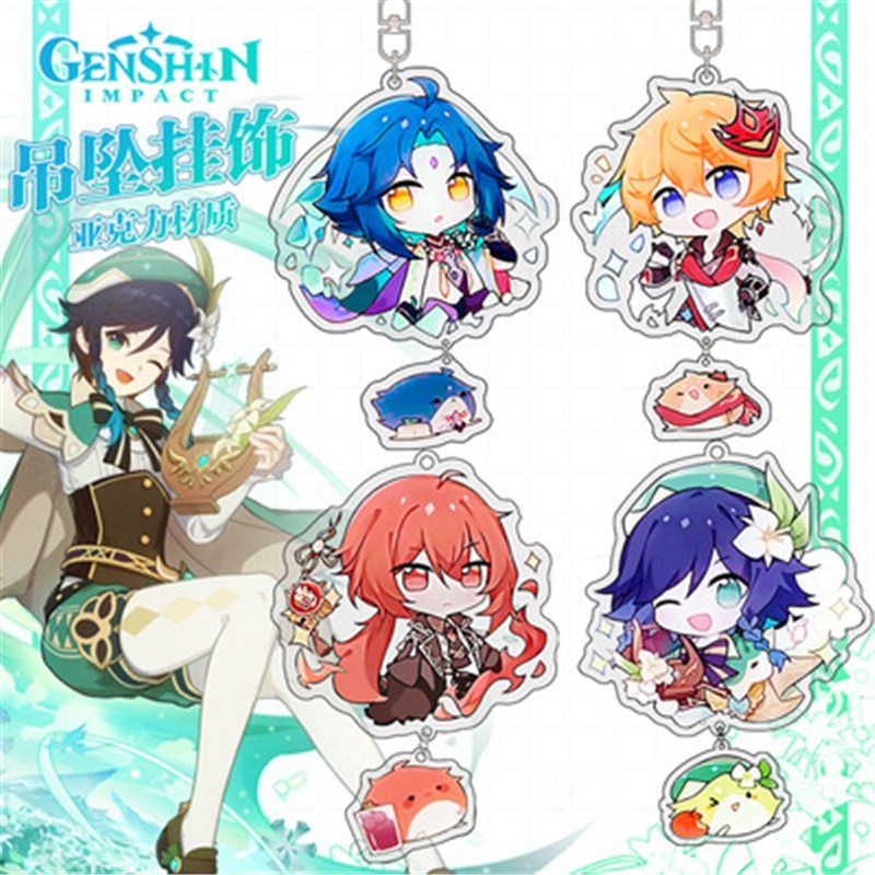 Game Genshin Impact Keychain Cosplay Kazuha Ayaka Yoimiya Eula Venti Paimon Cute Cartoon Character Car Pendant Arcylic Key Chain