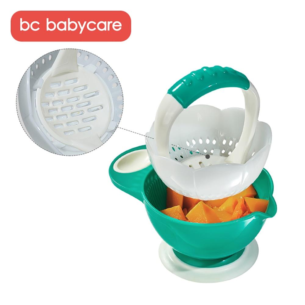 BC Babycare 6Pcs Baby Food Mills Tools Set Multifunctional Fruit Vegetable Grinding Masher with Bowl Kids Safety Food Feeding
