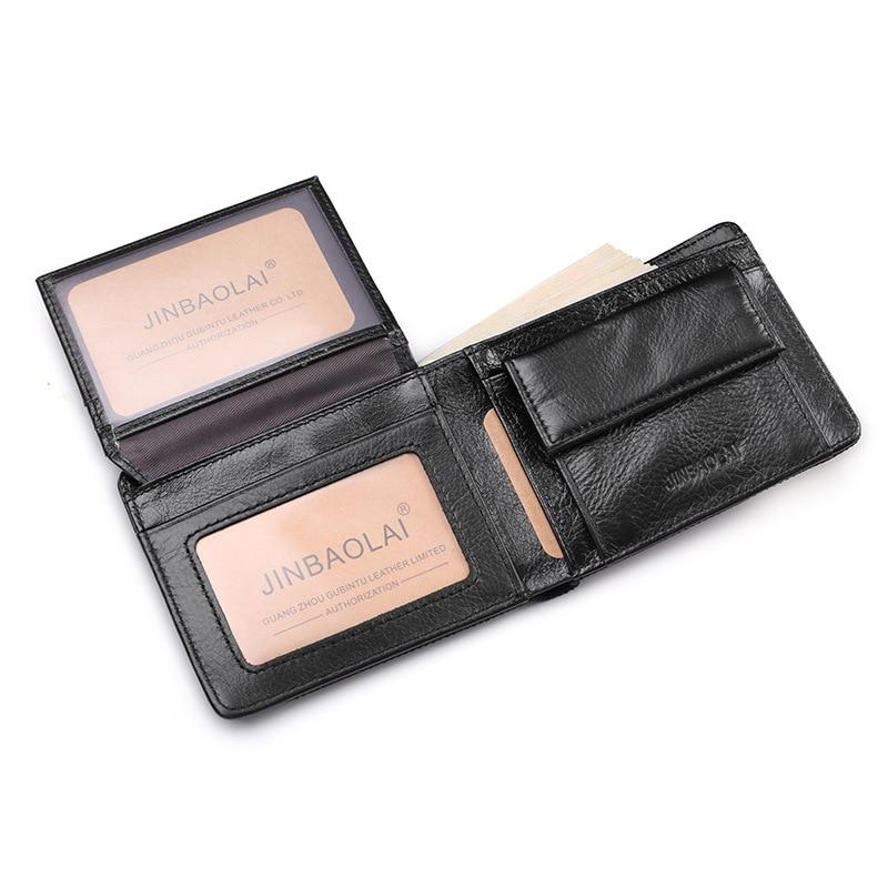 Canvas Genuine Leather Wallet Men High Quality Cow Skin Wallets Business Card Holder Money Bag Purse Man