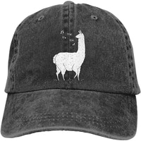 unisex song of the llama vintage washed twill baseball caps adjustable hat funny humor irony graphics of adult gift black