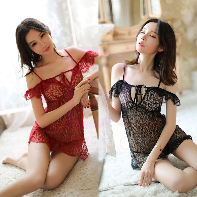 PERFECT EROTIC HALF SLIP WITH G-STRING SEXY SLIP SEXY DRESS SEXY PAJAMA Women Lace Sexy Lingerie Nig