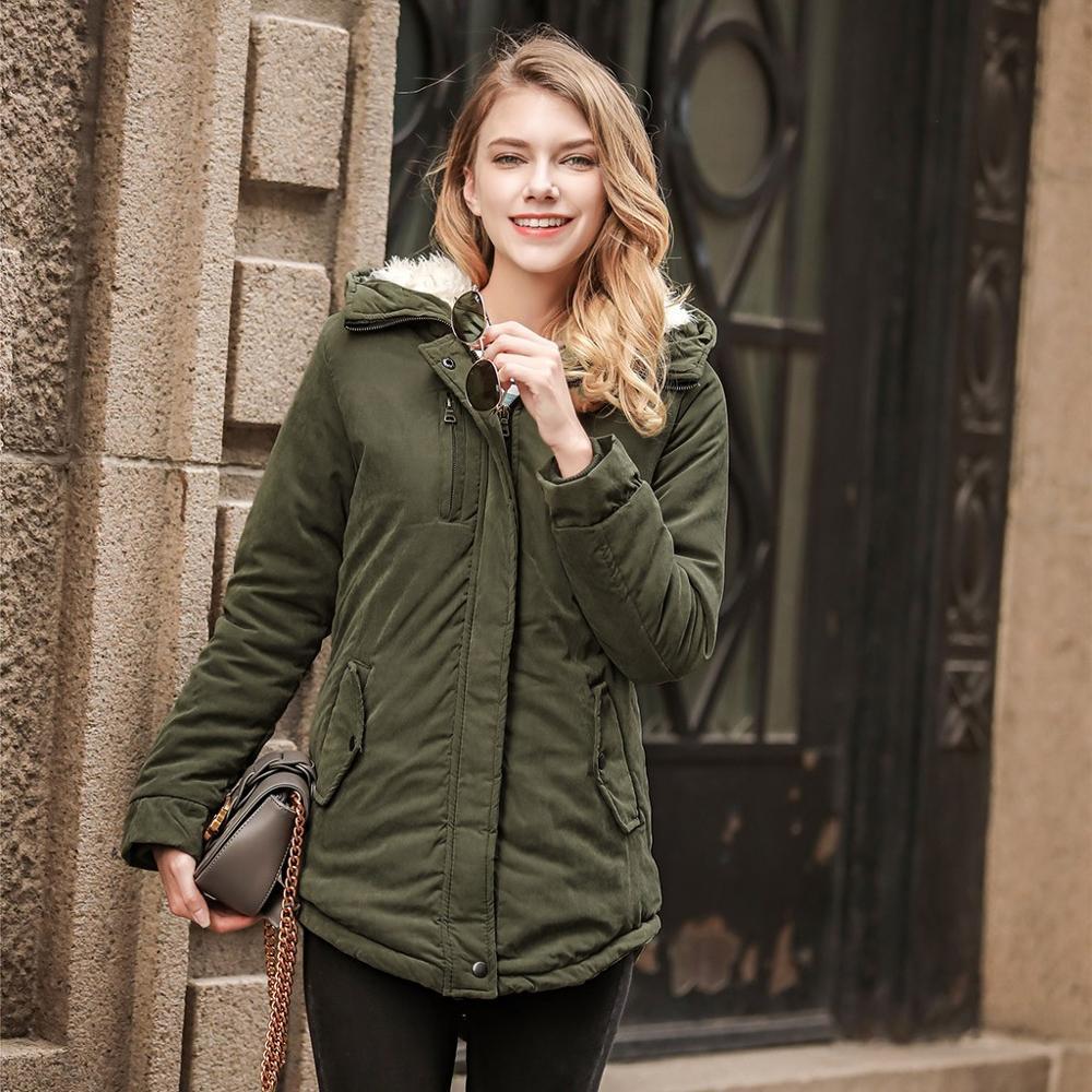 Las mujeres chaqueta de invierno cálida chaqueta de piel de cordero Parka...