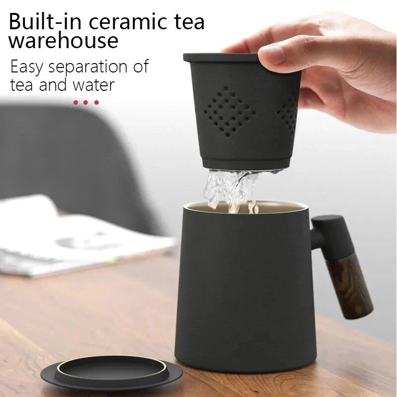 Youpin NRMEI السيراميك القدح فنجان شاي مع Infuser المنزلية مزدوجة الجدار القدح الرجال والنساء مكتب مع مقبض مصفاة شاي غطاء 400 مللي