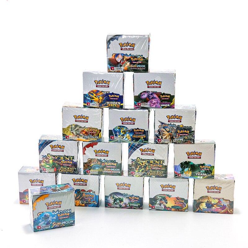 324 pces/caixa de pokemon cartões colecionáveis mais novos sun & moon espada & escudo inglês cartão de negociação evoluções booster cartão