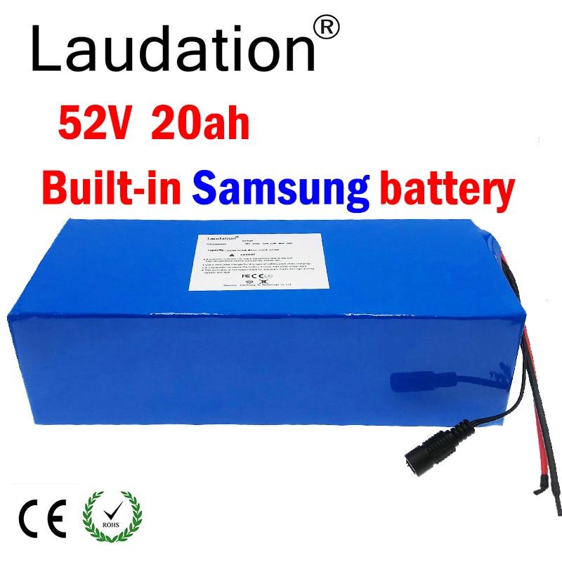 Laudation 18650 52V 20ah 14s6p بطارية ليثيوم حزمة 52V دراجة كهربائية بطارية 52V 20Ah الليثيوم حزمة بطارية سكوتر